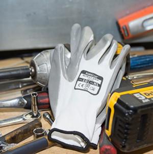 Aurelia Nitrile Palm Coated Grip Gloves - Size XL Grey