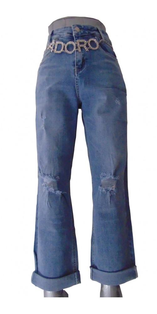 Chain Belt Women's Jeans - XL