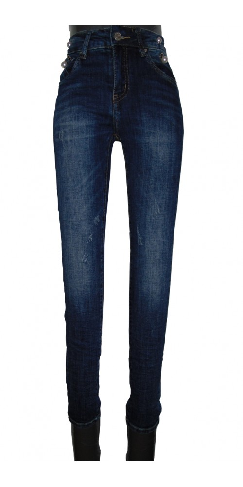 Women's  Jeans with Pearls - L