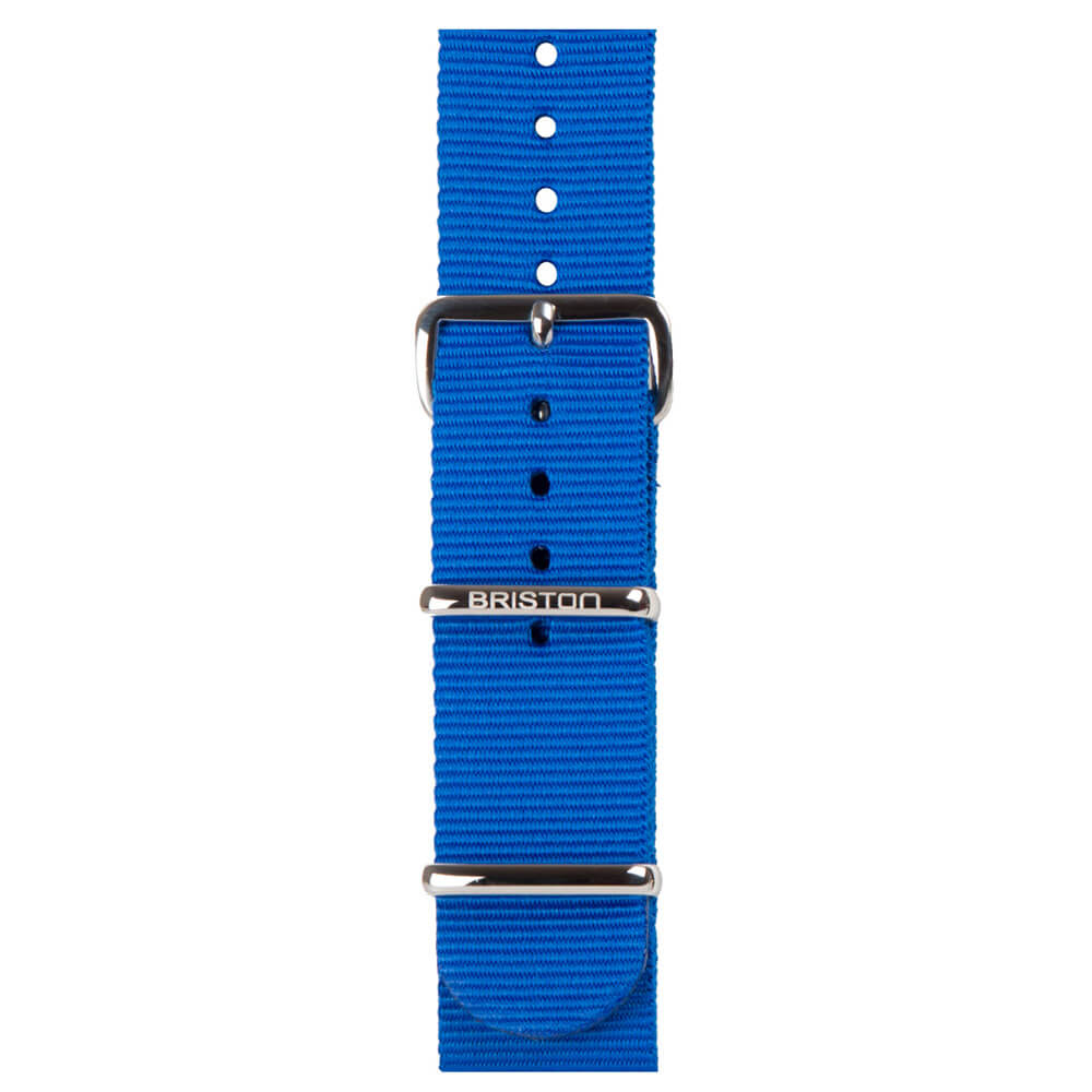 BRISTON ELECTRIC BLUE NYLON INTERCHANGEABLE STRAP (NATO), SILVER BUCKLE AND LOOPS, WIDTH 20 MM, LENGTH 280 MM OR 245 MM