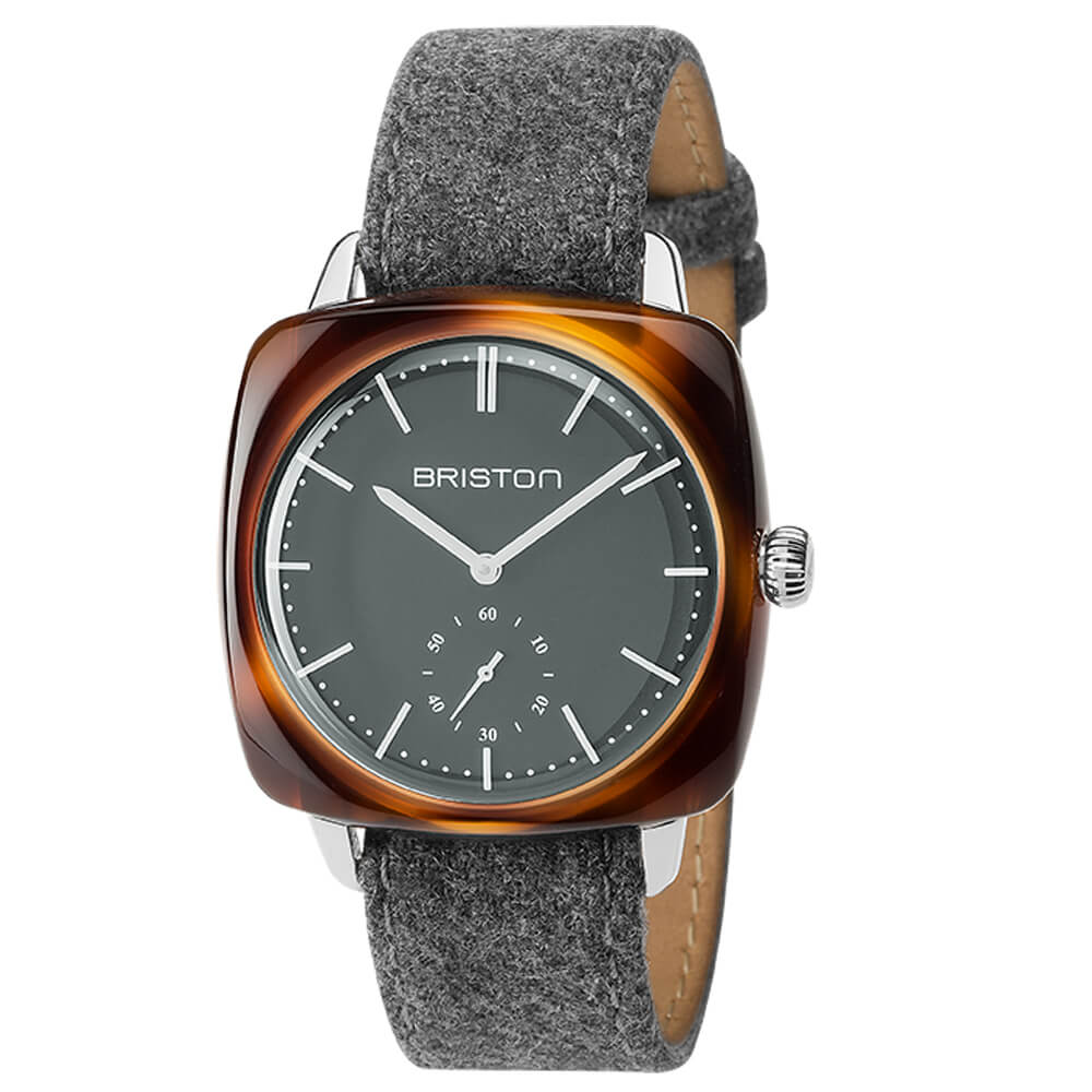 CLUBMASTER VINTAGE ACETATE 40X40 MEN &WOMEN  SMALL SECOND, TORTOISE SHELL ACETATE GREY DIAL AND LEATHER FLANNEL STRAP