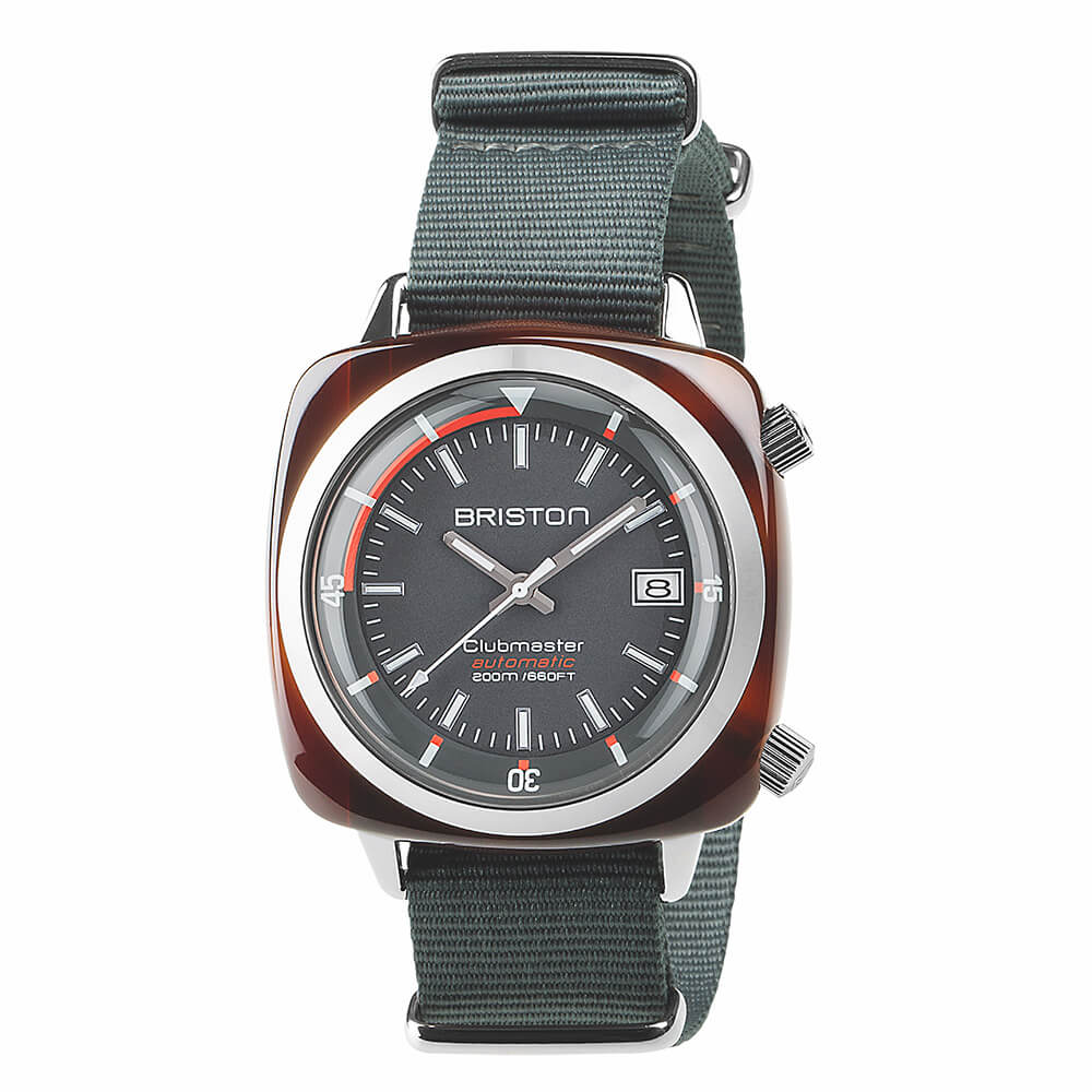 CLUBMASTER DIVER ACETATE 42X42 HMS AUTOMATIC TORTOISE SHELL, GREY DIAL AND GREY NATO STRAP