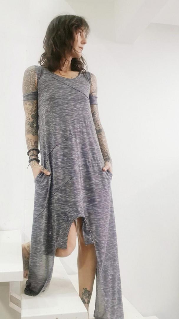 Asymmetric sleeveless dress Gray Small/Medium