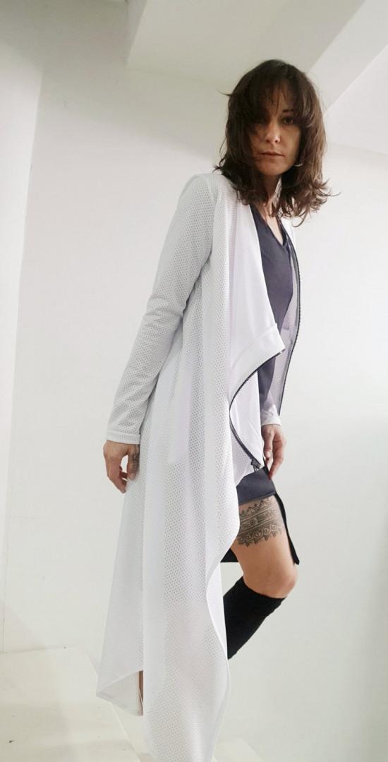 Womens asymmetric cardigan white Small/Medium