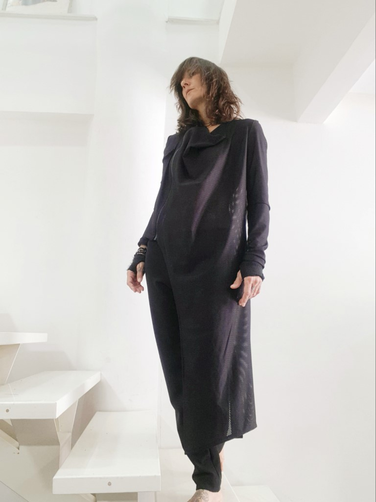 Womens asymmetric cardigan black Small/Medium