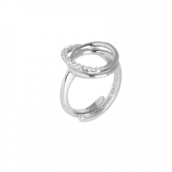 BOCCADAMO silver ring with smooth intertwined circles and zircons