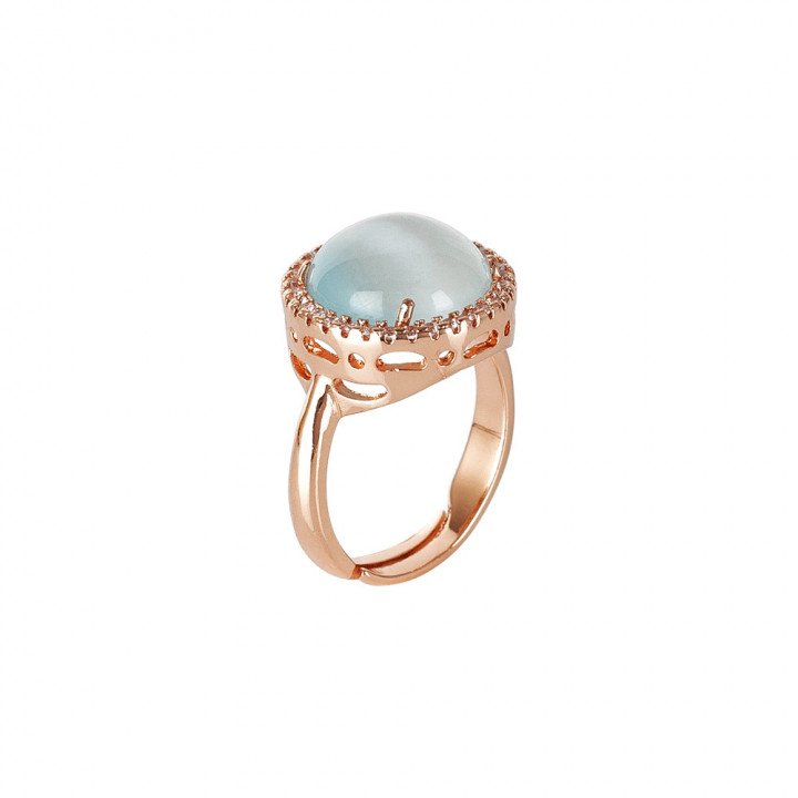 BOCCADAMO Ring with light blue cabochon flecked crystal and zircons