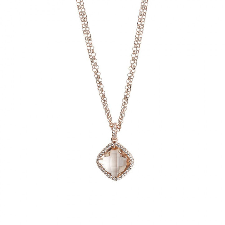 BOCCADAMO Necklace double wire with crystal peach and zircons