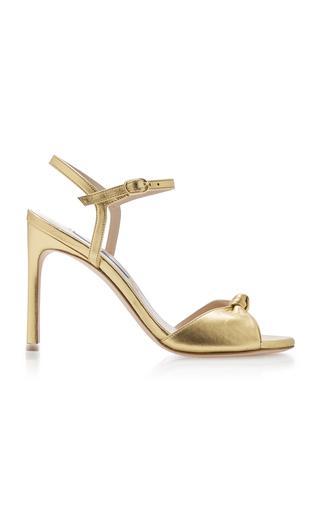Gloria Knotted Leather Sandal - Stuart Weitzman Sale, Gold -  Size 37
