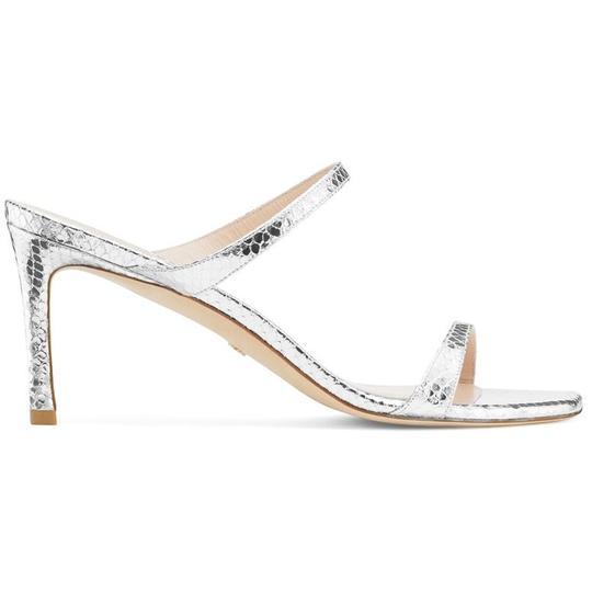 THE ALEENA 75 SANDAL - Stuart Weitzman, Silver  -  Size 38.5