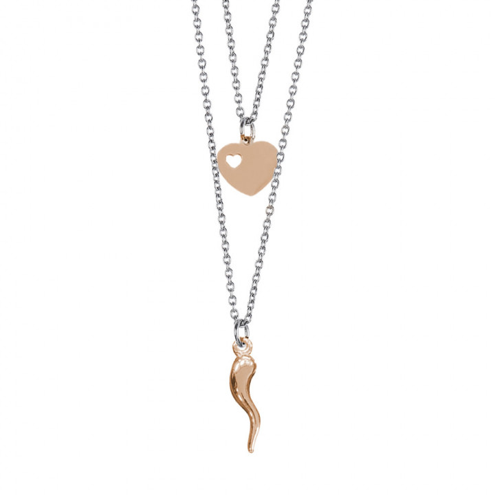 MYA BOCCADAMO STEEL Double wire degraded necklace with rosé heart and lucky charm