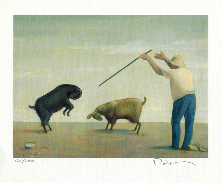 Shepherd with Goats - 17.2x21.5cm