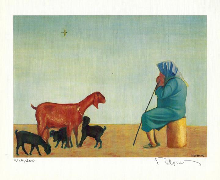 Shepherdess with Goats - 17.2x21.5cm