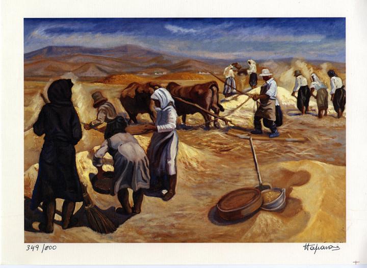 Threshing Wheat - 25x34cm