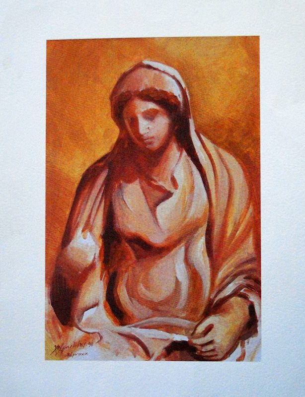 Ancient Cypriot Woman - 50x35cm
