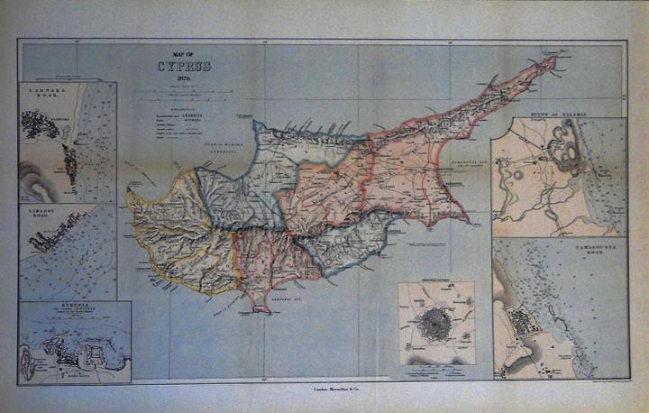 Map of Cyprus 1878 - 36.2x57cm