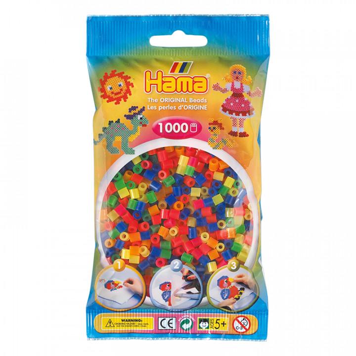 Hama bag of 1000 Neon Mix Beads