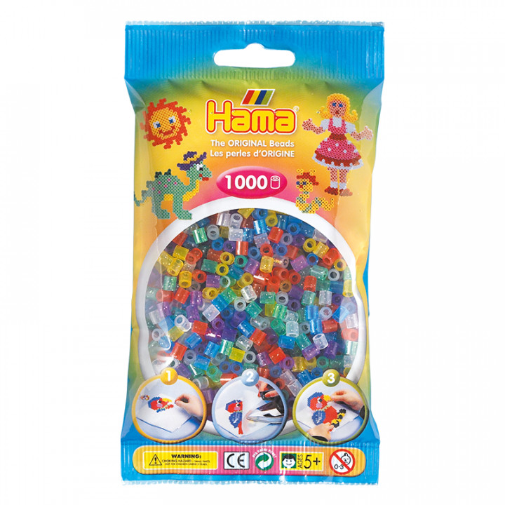 Hama bag of 1000 Glitter Mix Beads