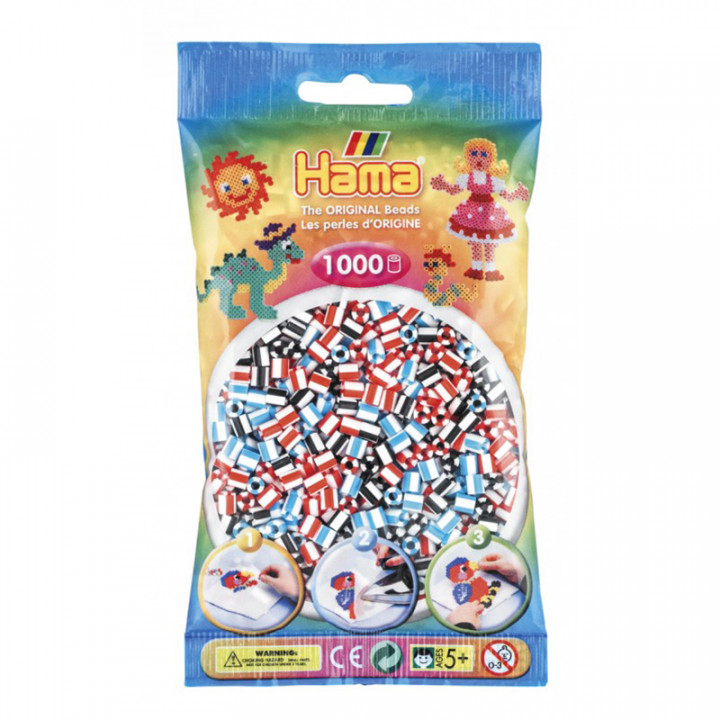Hama bag of 1000 White Striped Mix Beads