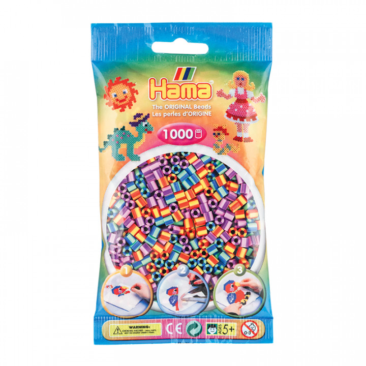 Hama bag of 1000 Coloured Striped Mix Beads