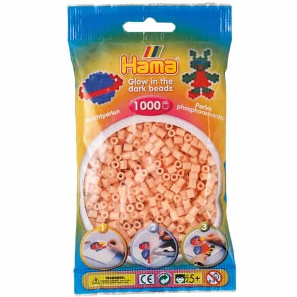 Hama bag of 1000 - Glow in the Dark Red