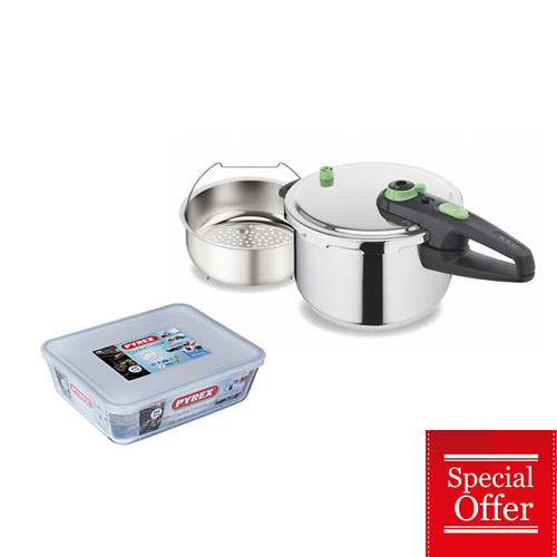 TEFAL PRESSURE COOKER 6LT WITH BASKET AND FREE PYREX RECT. DISH+PLASTIC COVER 2,6LT (25x19x8cm)