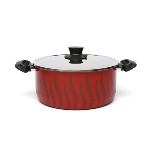 TEAL NEW TEMPO FLAME NON STICK DUTCH OVEN 20CM + ST. STEEL LID - Red / Black Flames