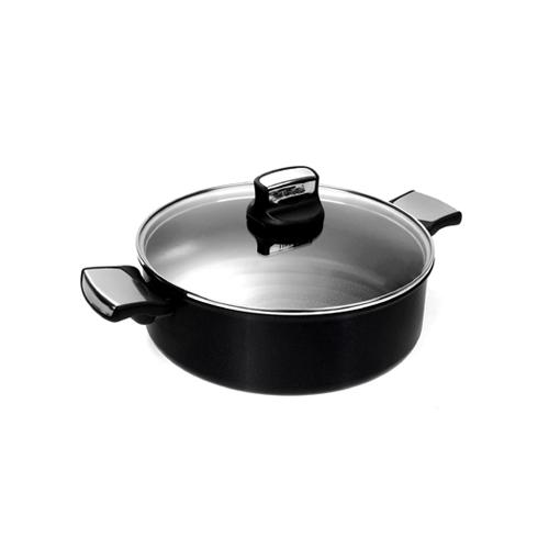 TEFAL EXPERTISE SHALLOW PAN 26CM + GLASS LID - Black