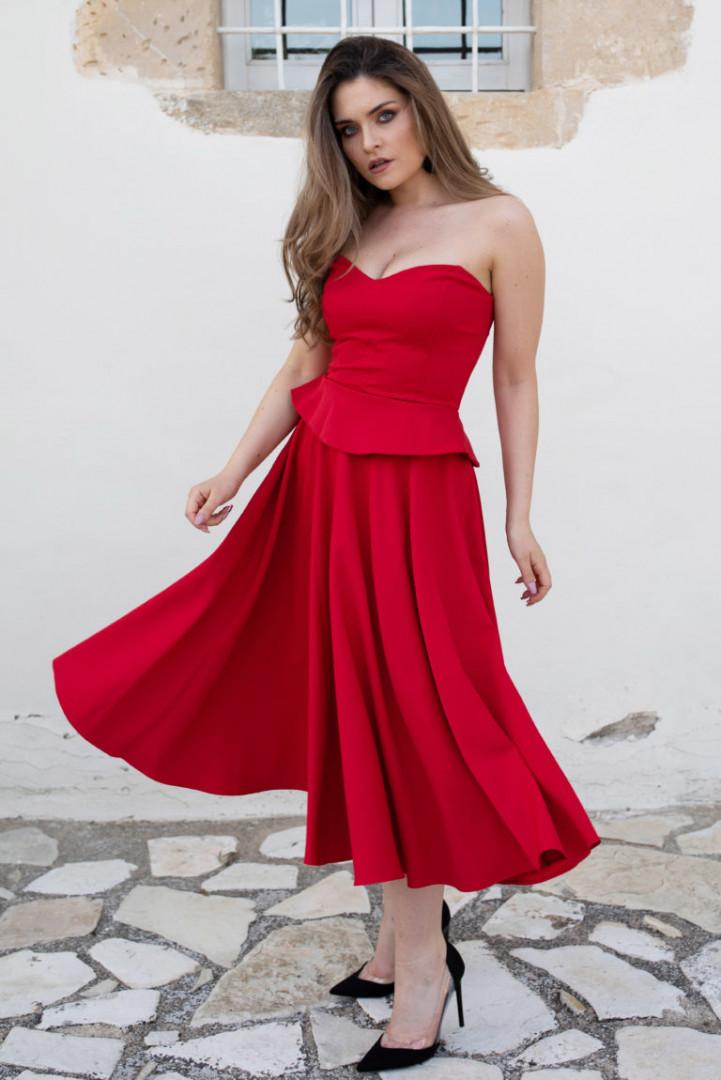 Midi Skirt - Red - Large