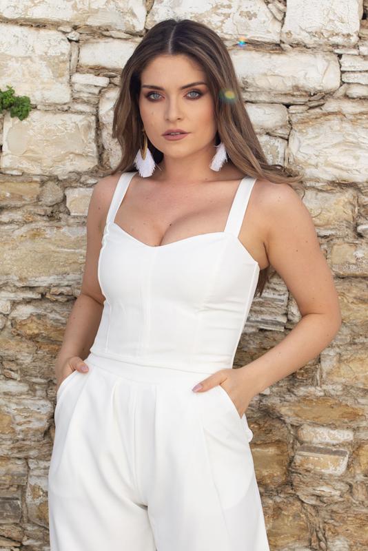 Laced Back Corset - White - Large