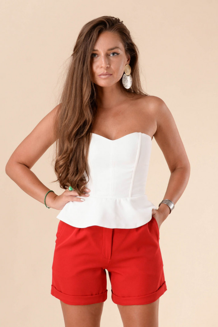 High Waisted Short Pants - Red - Large