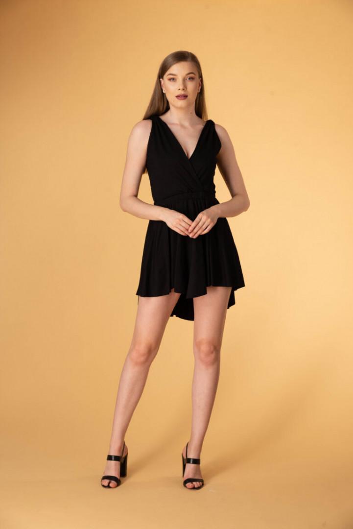 Asymmetrical Backless Dress - Black - Large