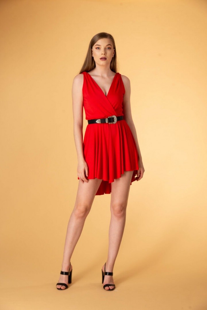 Asymmetrical Backless Dress - Red - Large