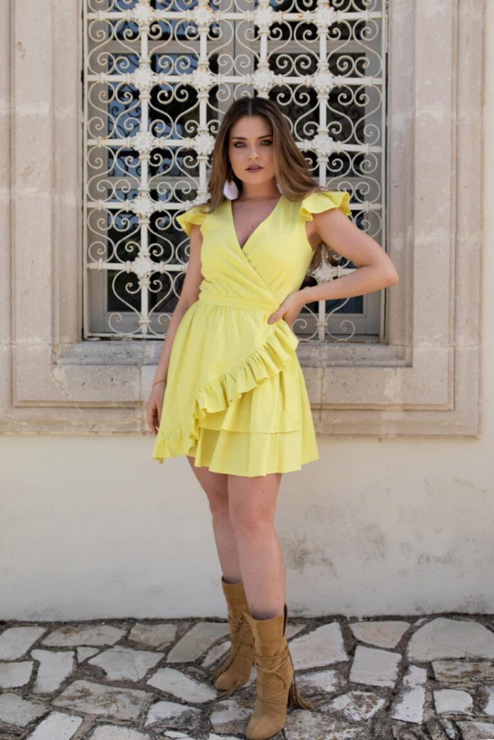 Summer linen dress with frill - Yellow - Small/Medium
