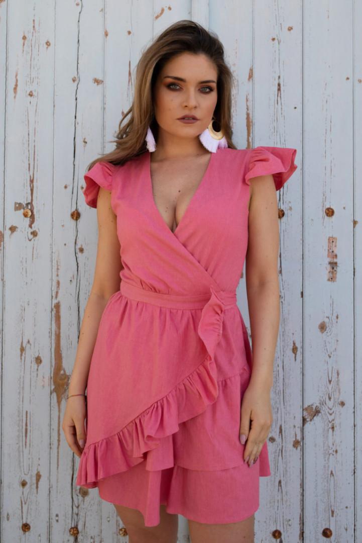 Summer linen dress with frill - Pink - Medium/Large