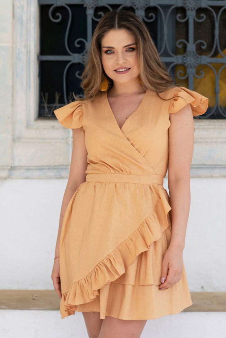 Summer linen dress with frill - Orange - Small/Medium