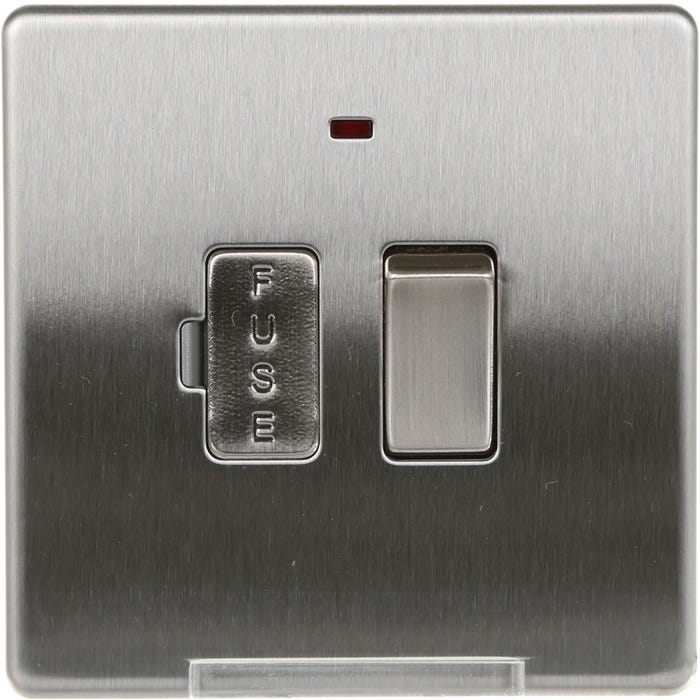 Screwless Flatplate 13A Switched Fused Spur Connection Unit with Neon Brushed Steel