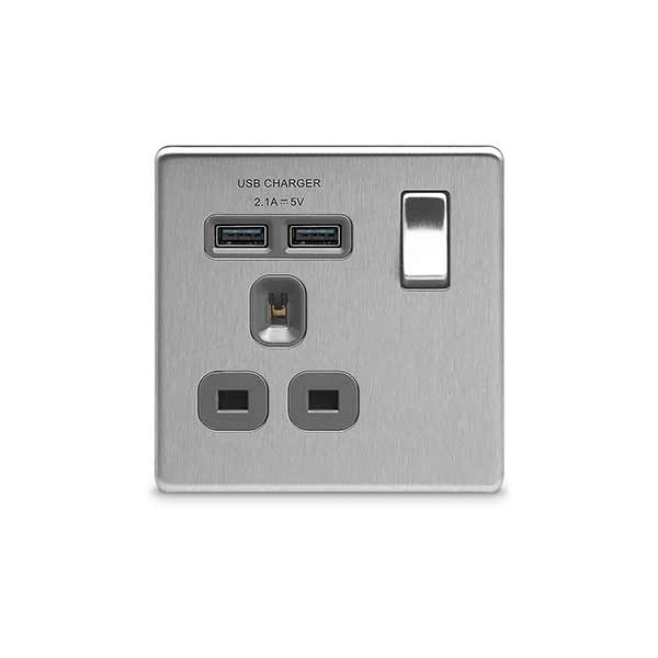 13A, 2 gang socket + 2 x USB (3.1A), grey insert, switched