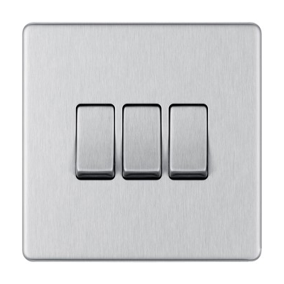 Brushed Steel 3 Gang Switches 2Way