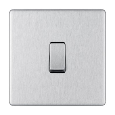 Brushed Steel 1 Gang Switch 2Way
