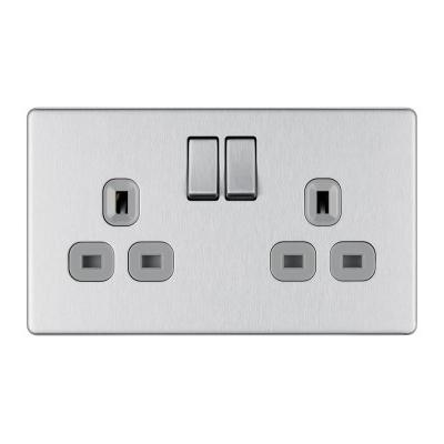Steel Grey 13A Double Socket w Switch