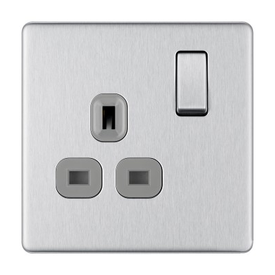 Steel Grey 13A Single Socket with Switch