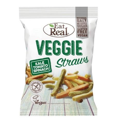 EAT REAL VEGGIE STRAWS SEA SALT, GLUTEN FREE 100G BIO