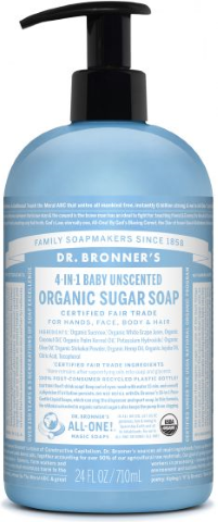 DR BRONNERS HAND BODY BABY UNSCENTED SOAP 710ML