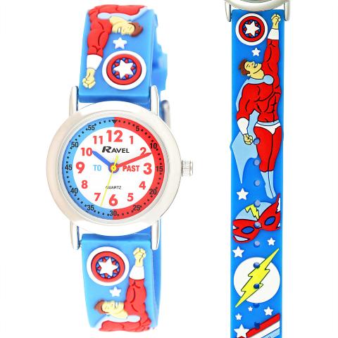 Ravel-Kid's Cartoon Time-Teacher Watch - Superheroes - L.Blue - 27mm