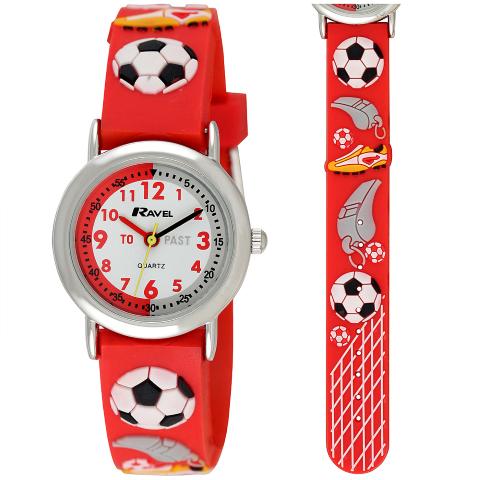 Ravel-Kid's Cartoon Time Teacher Watch - Football - Red - 27mm