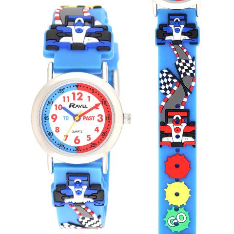 Ravel-Kid's Cartoon Time-Teacher Watch - Rally Racing Car - L.Blue - 27mm