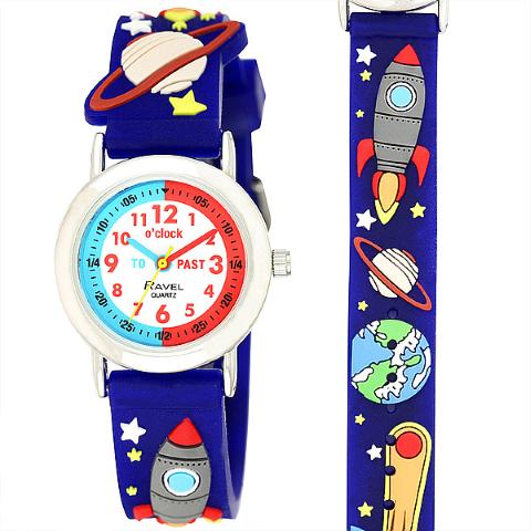 Ravel-Kid's Cartoon Time-Teacher Watch - Space - Blue - 27mm