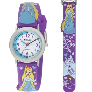 Ravel-Kid's Cartoon Time Teacher Watch - Purple Princess - Purple - 27mm