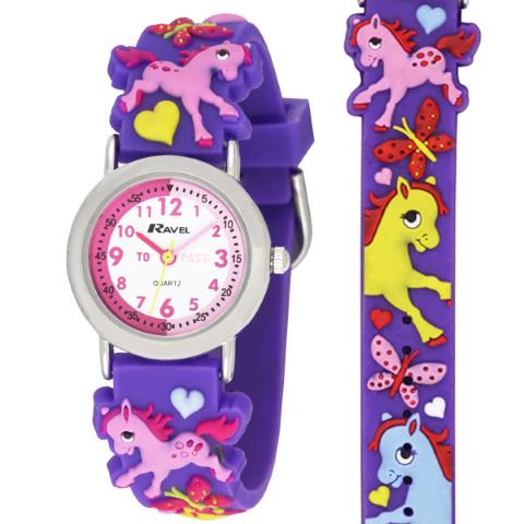 Ravel-Kid's Cartoon Time Teacher Watch - Pony - Purple - 27mm